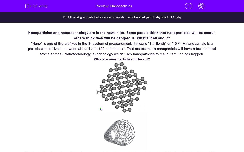 'Nanoparticles' worksheet