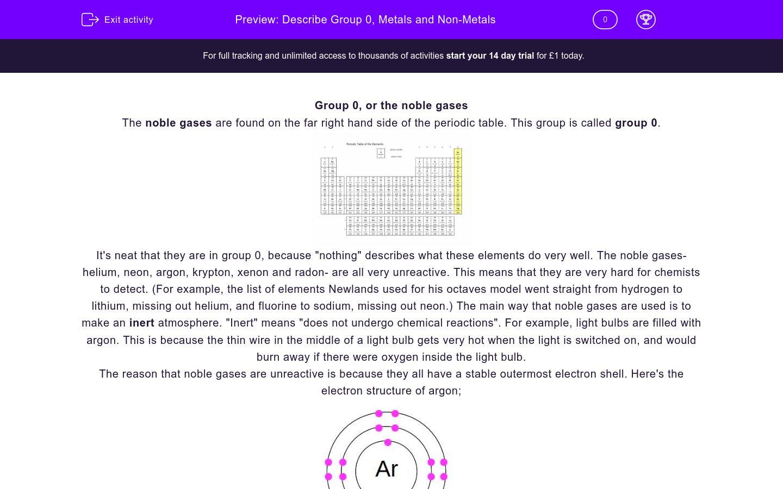 'Describe Group 0, Metals and Non-Metals' worksheet