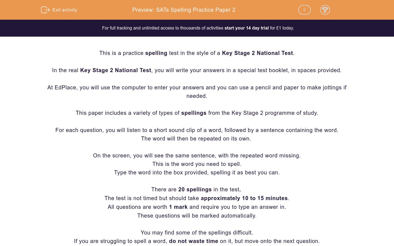 'SATs Spelling Practice Paper 2 ' worksheet