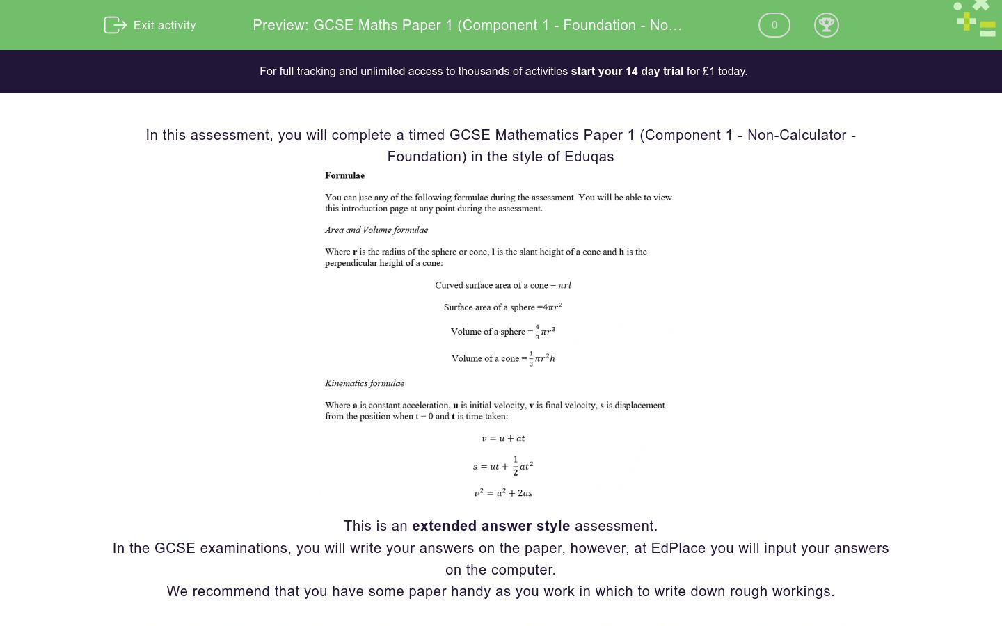 'GCSE Maths Paper 1 (Component 1 - Foundation - Non Calculator) Practice Paper in the Style of Eduqas' worksheet
