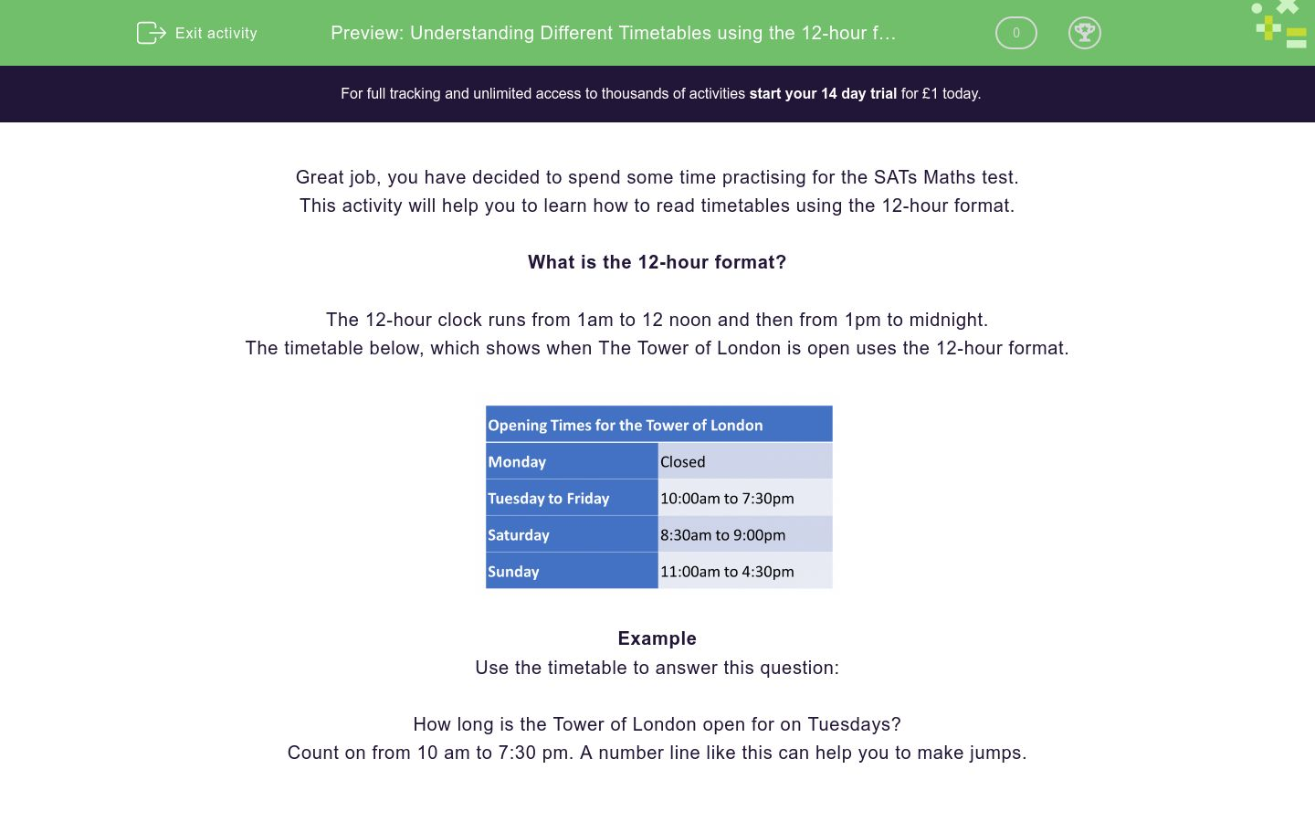 'Understanding Different Timetables using the 12-hour format' worksheet