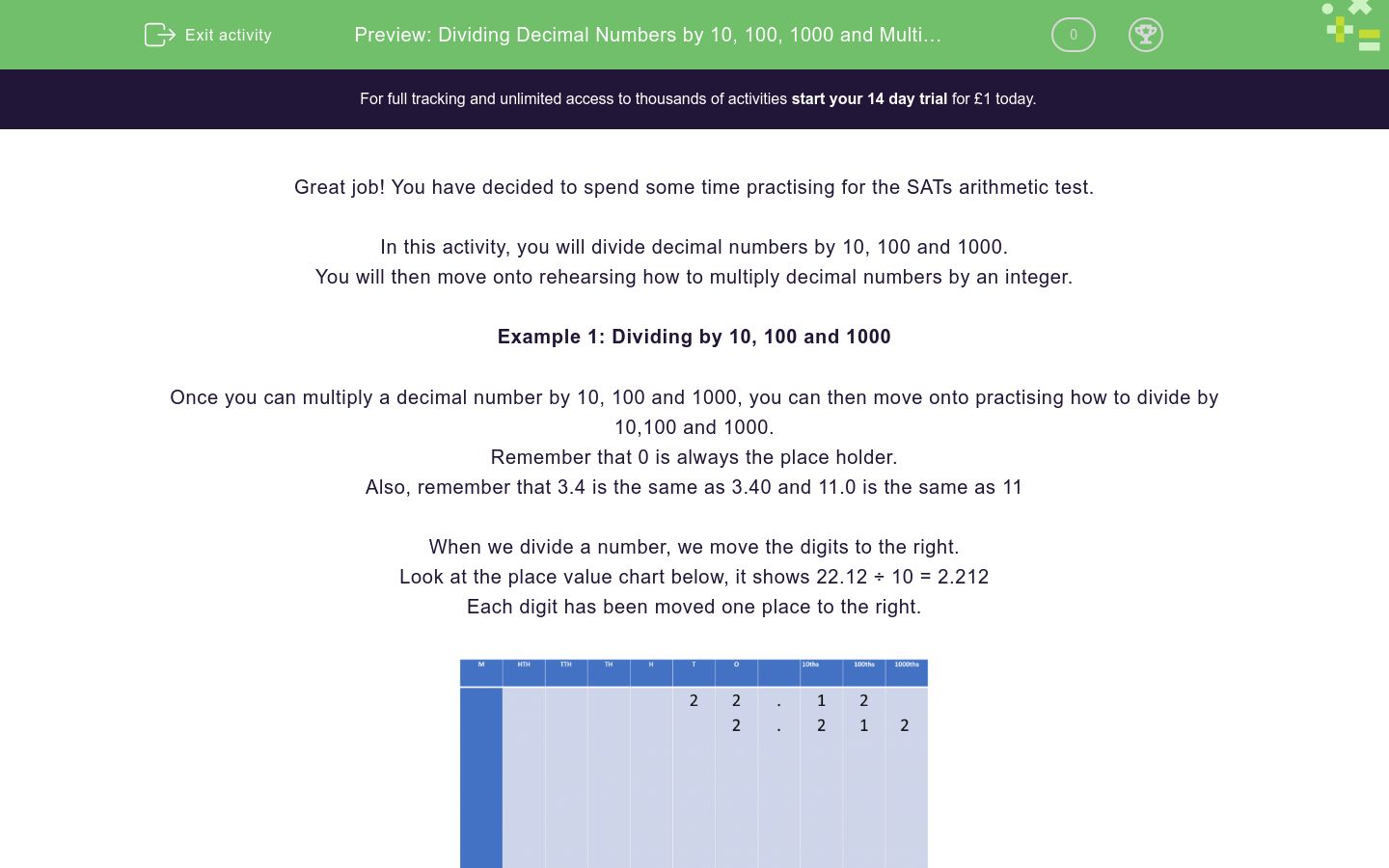 'Dividing Decimal Numbers by 10, 100, 1000 and Multiplying by an Integer' worksheet