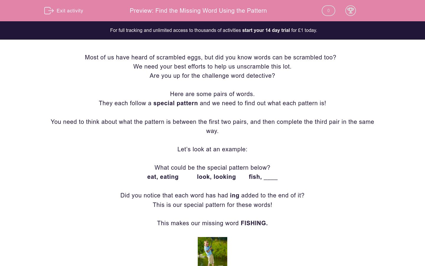 'Find the Missing Word Using the Pattern' worksheet