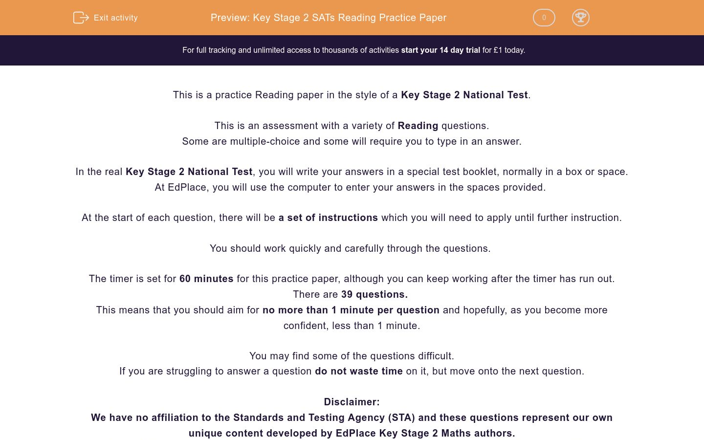 'Key Stage 2 SATs Reading Practice Paper' worksheet