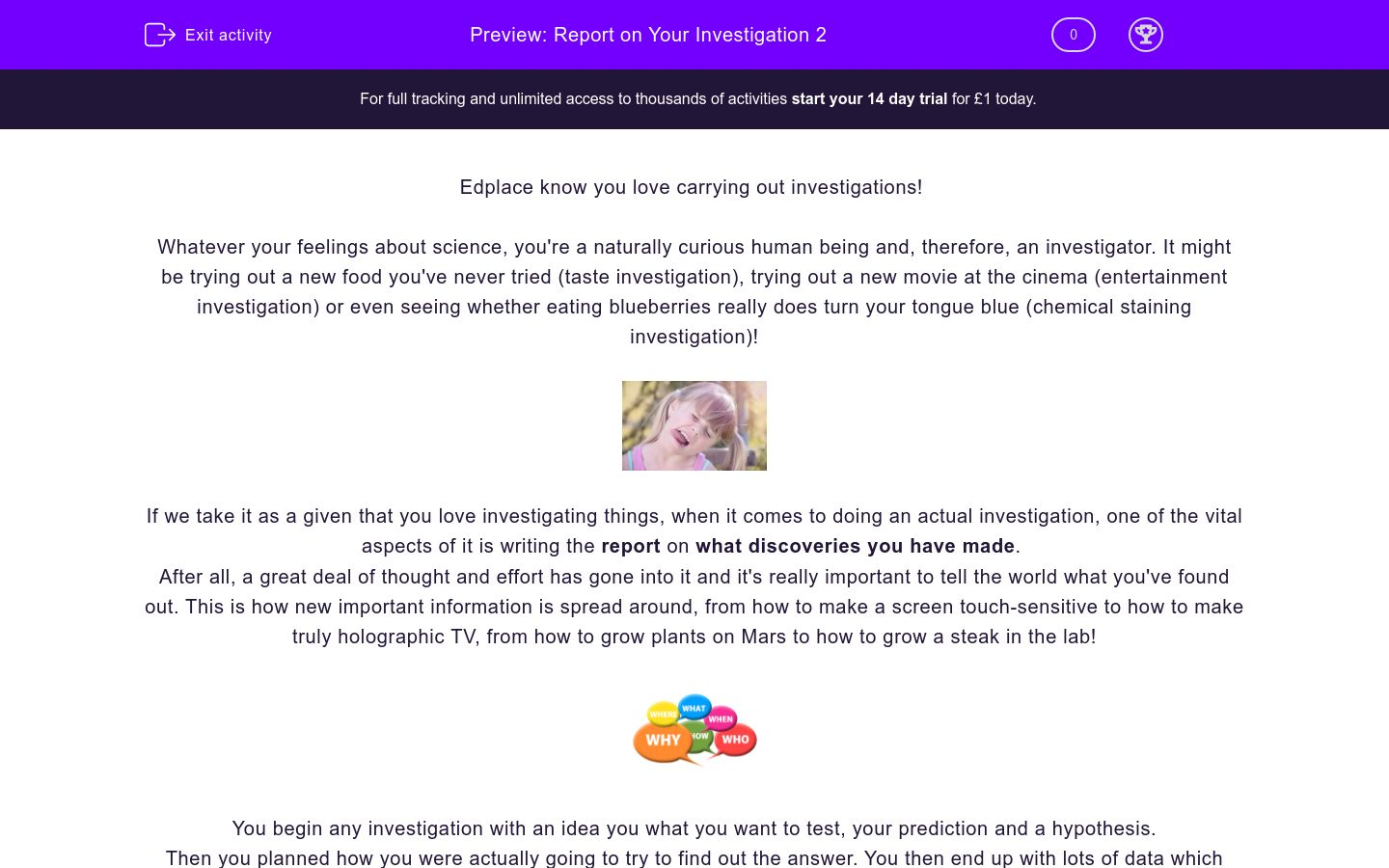 'Report on Your Investigation 2' worksheet