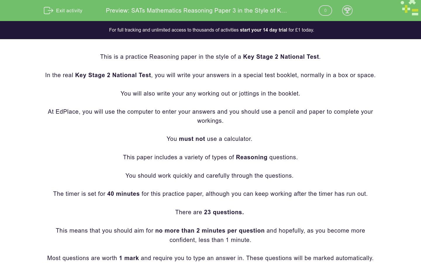 'SATs Mathematics Reasoning Paper 3 in the Style of Key Stage 2 National Tests (Practice 1)' worksheet
