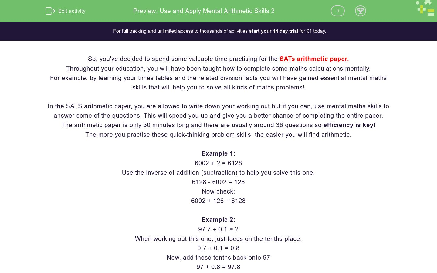 'Use and Apply Mental Arithmetic Skills 2' worksheet
