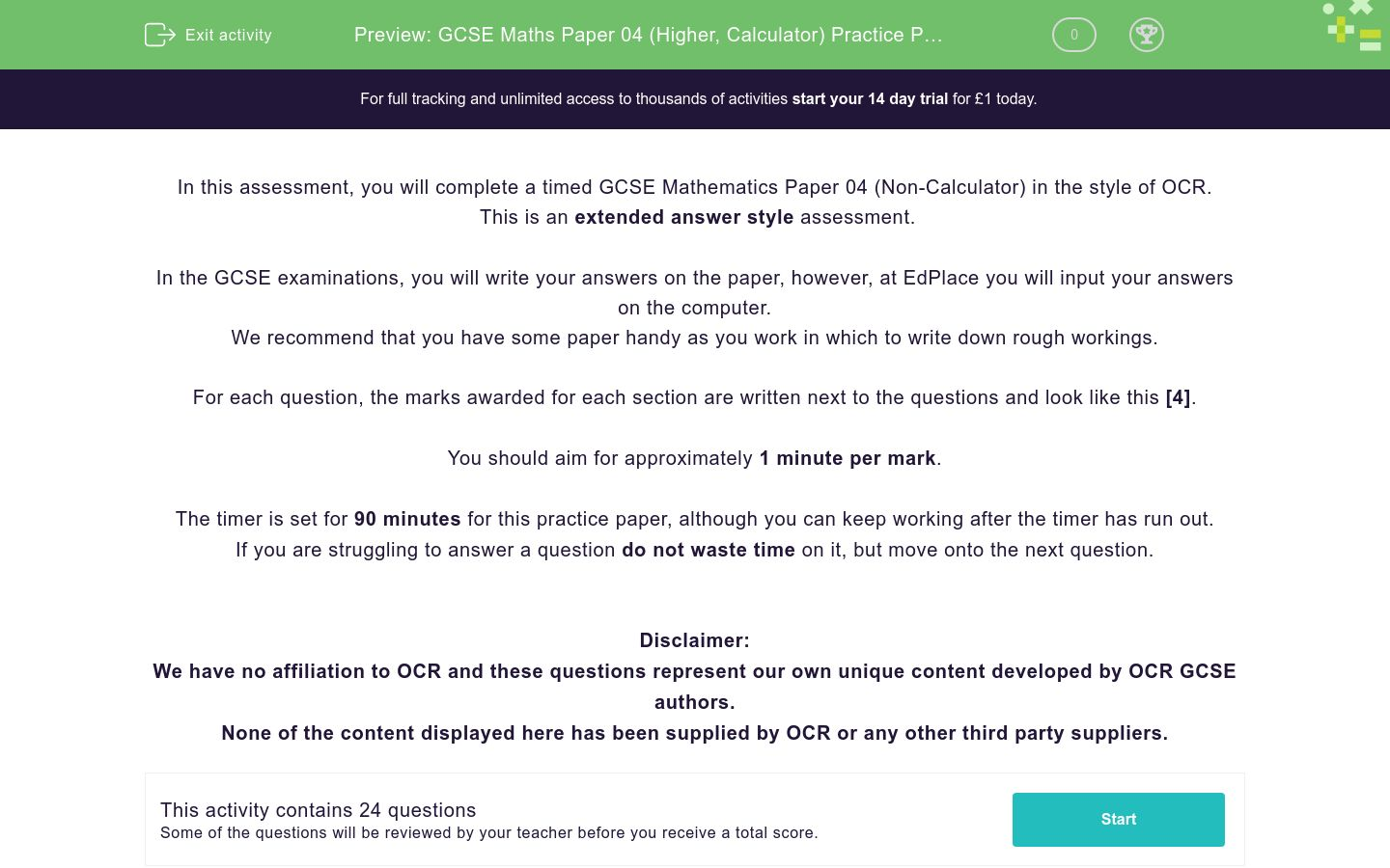 'GCSE Maths Paper 04 (Higher, Calculator) Practice Paper in the Style of OCR' worksheet
