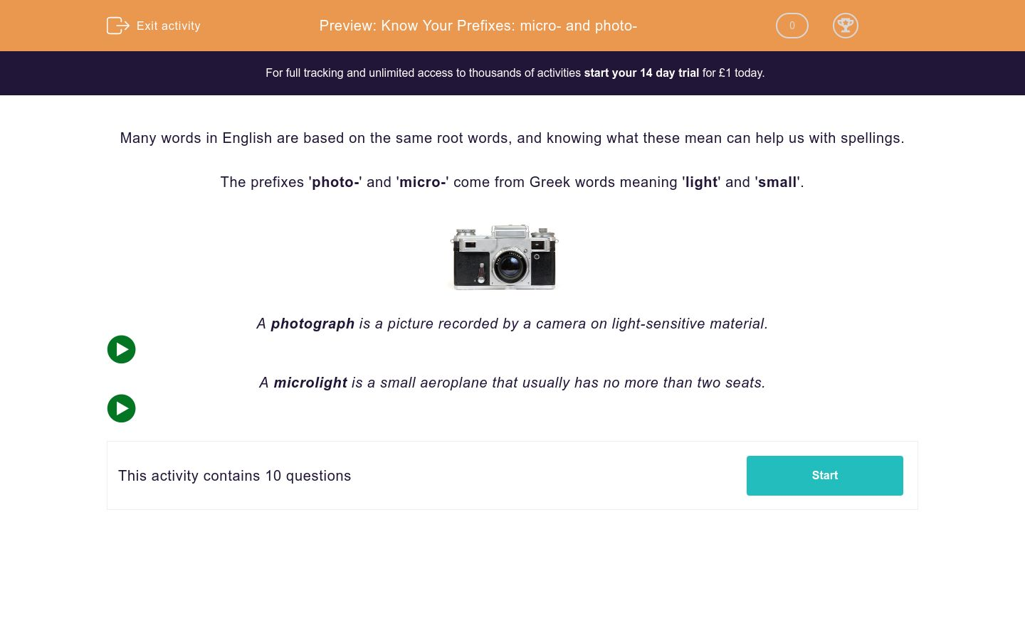 'Know Your Prefixes: micro- and photo-' worksheet