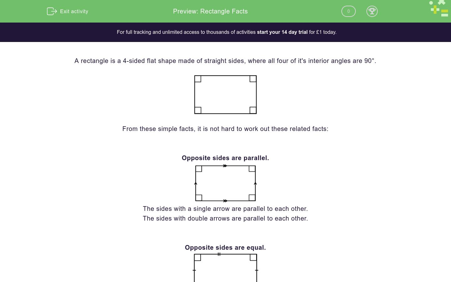 'Rectangle Facts' worksheet