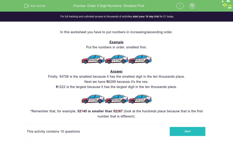 'Order 5-Digit Numbers: Smallest First' worksheet