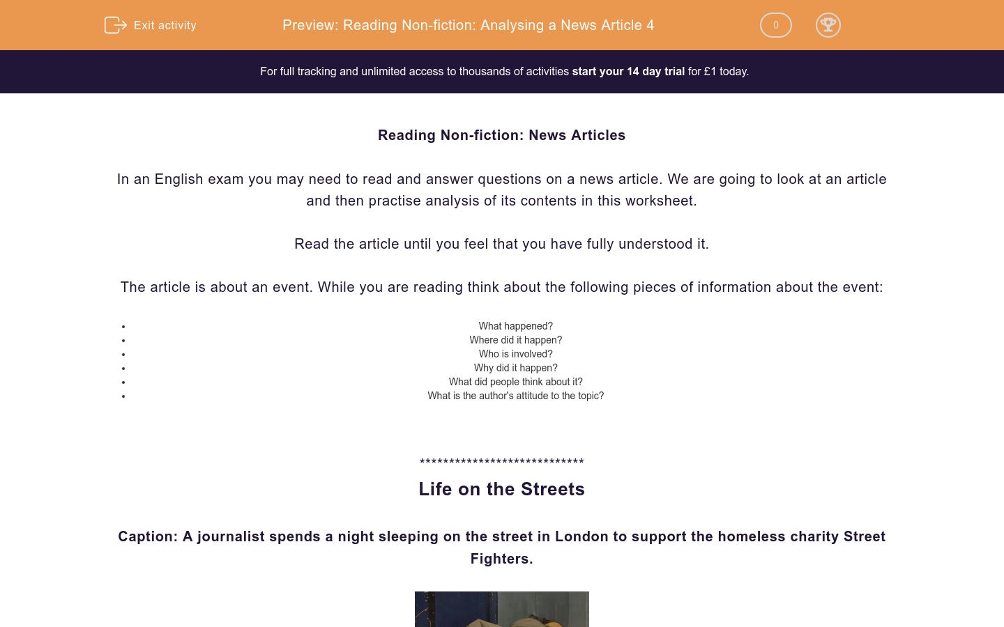 'Reading Non-fiction: Analysing a News Article 4' worksheet