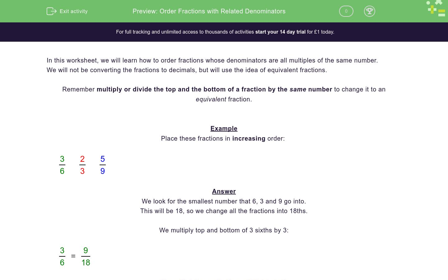 'Order Fractions with Related Denominators' worksheet
