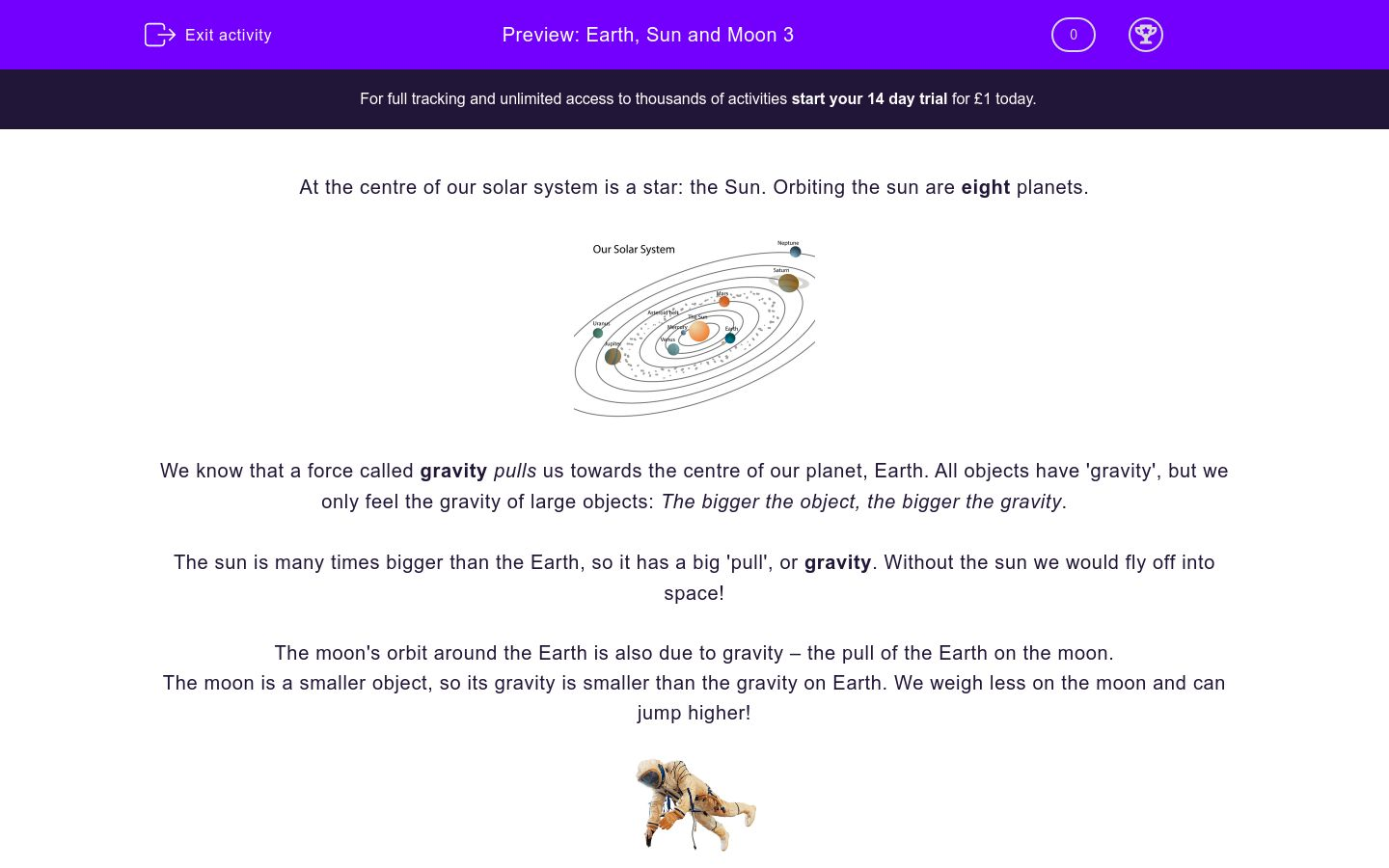 'Earth, Sun and Moon 3' worksheet
