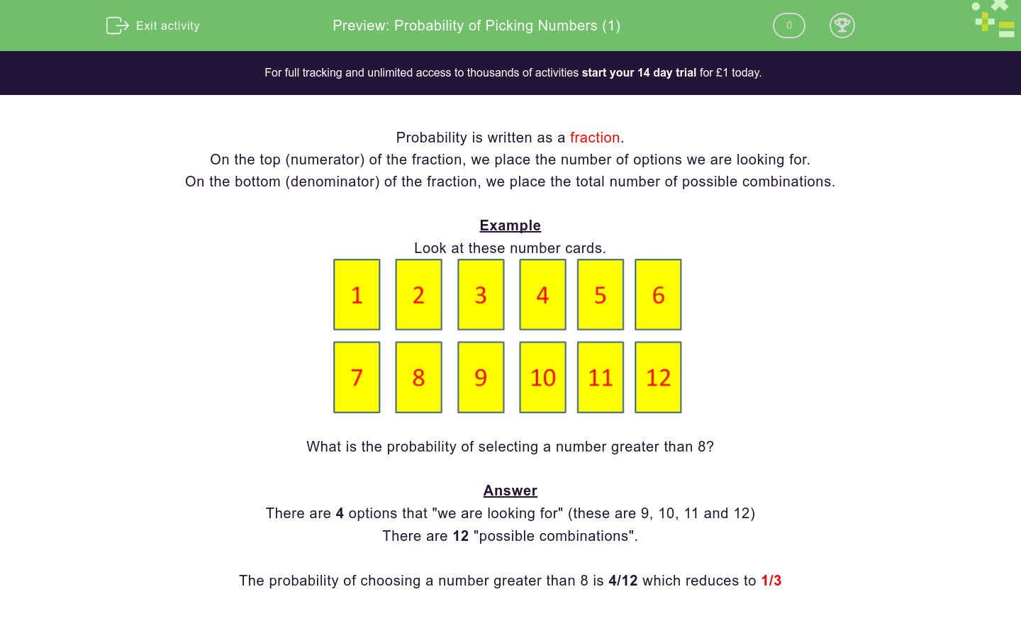 'Probability of Picking Numbers (1)' worksheet