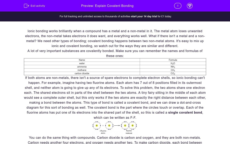 'Explain Covalent Bonding' worksheet