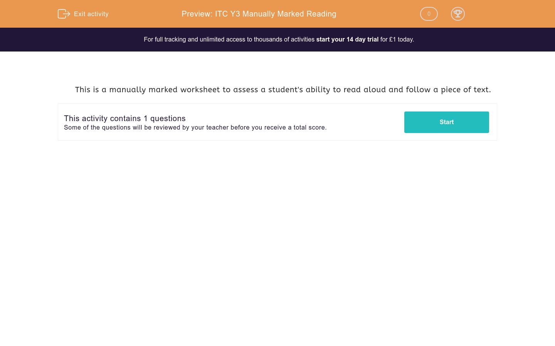 'ITC Y3 Manually Marked Reading' worksheet
