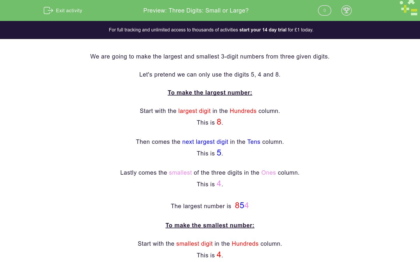 'Three Digits: Small or Large?' worksheet