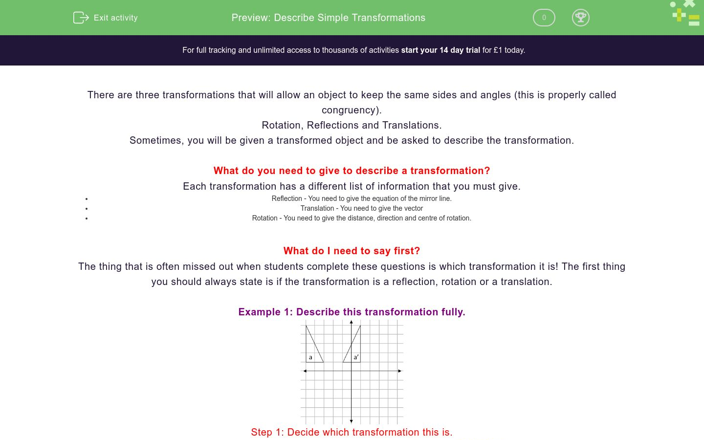 'Describe Simple Transformations' worksheet