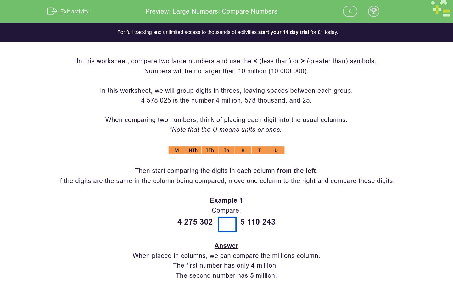 'Large Numbers: Compare Numbers' worksheet