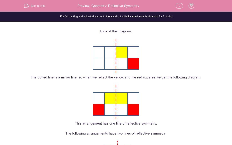 'Geometry: Reflective Symmetry' worksheet