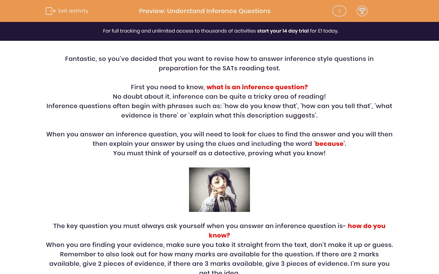 'Understand Inference Questions' worksheet