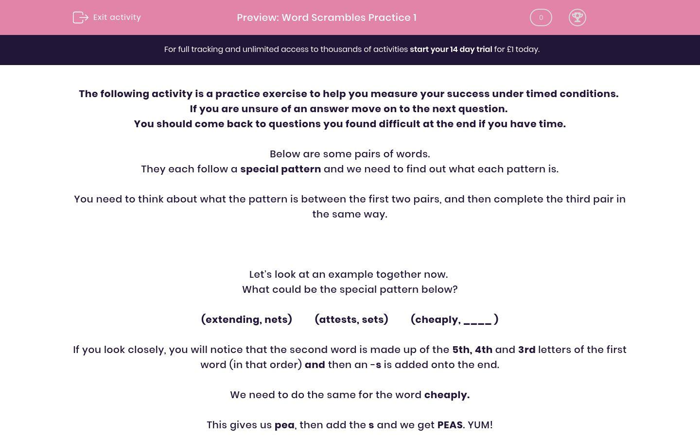 'Word Scrambles Practice 1' worksheet