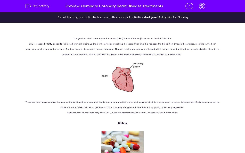 'Compare Coronary Heart Disease Treatments' worksheet
