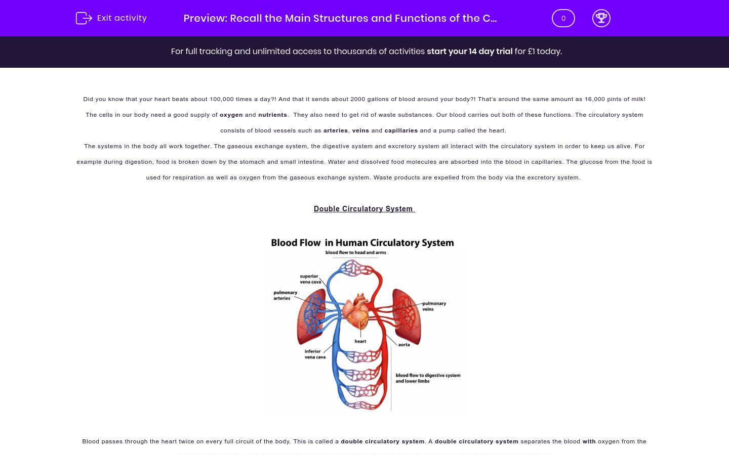 'Understand the Main Structures and Functions of the Circulatory System' worksheet