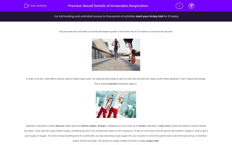 'Recall Details of Anaerobic Respiration' worksheet