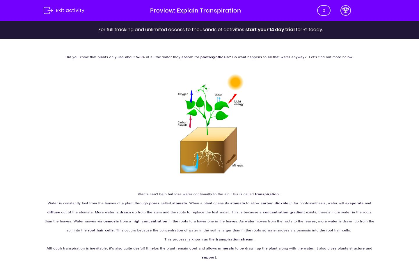 'Explain Transpiration' worksheet