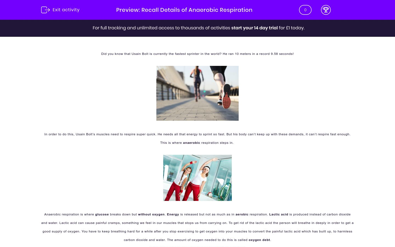 'Understand Anaerobic Respiration' worksheet