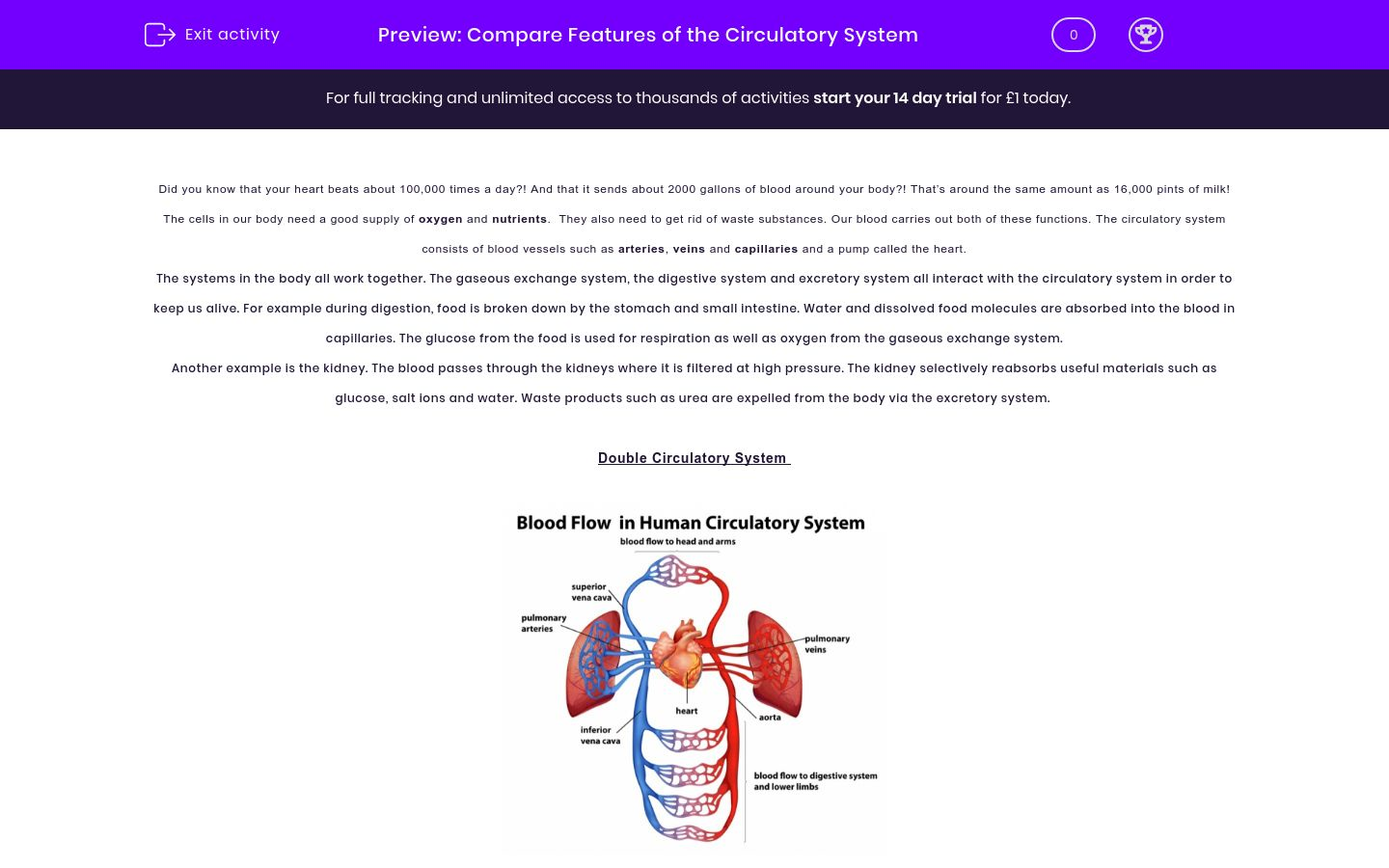 'Investigate the Features of the Circulatory System' worksheet