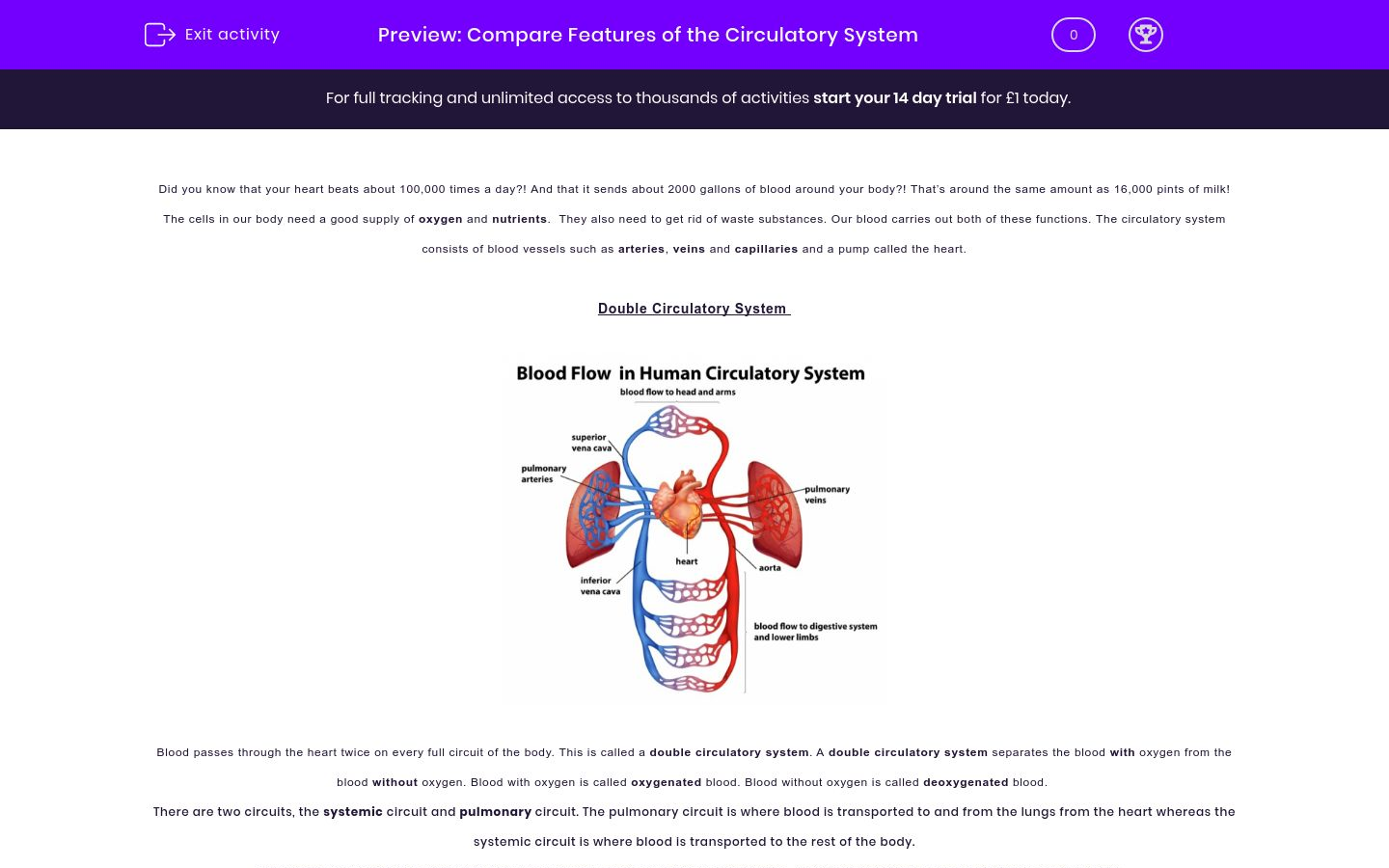 'Compare Features of the Circulatory System' worksheet