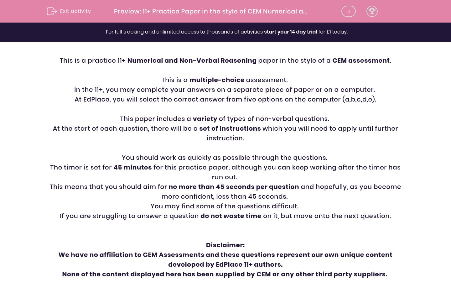 '11+ Practice Paper in the style of CEM Numerical and Non-Verbal Reasoning' worksheet
