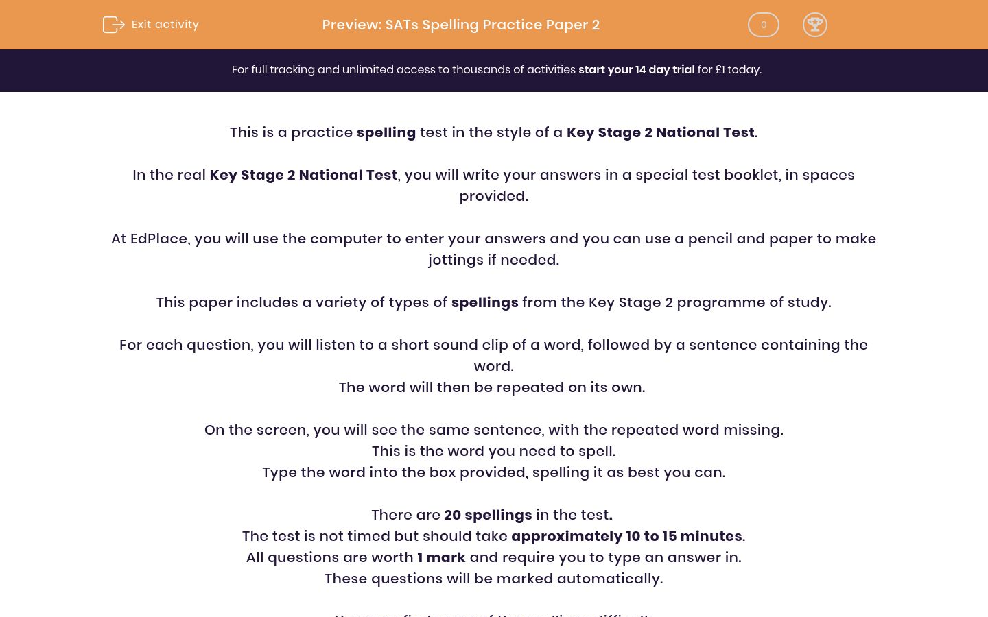 SATs Spelling Practice Paper 2 Worksheet - EdPlace