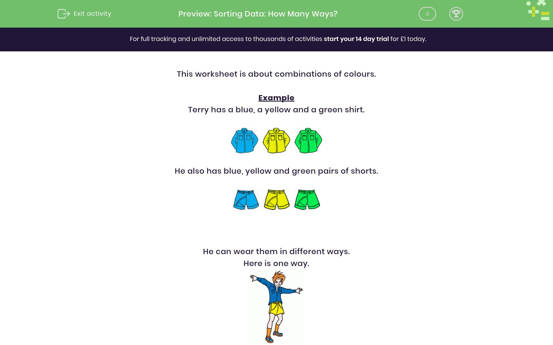 'Sorting Data: How Many Ways?' worksheet