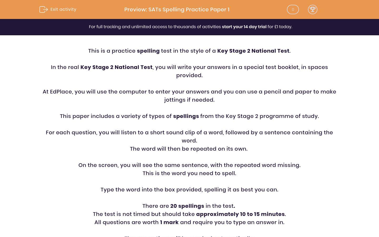 'SATs Spelling Practice Paper 1' worksheet