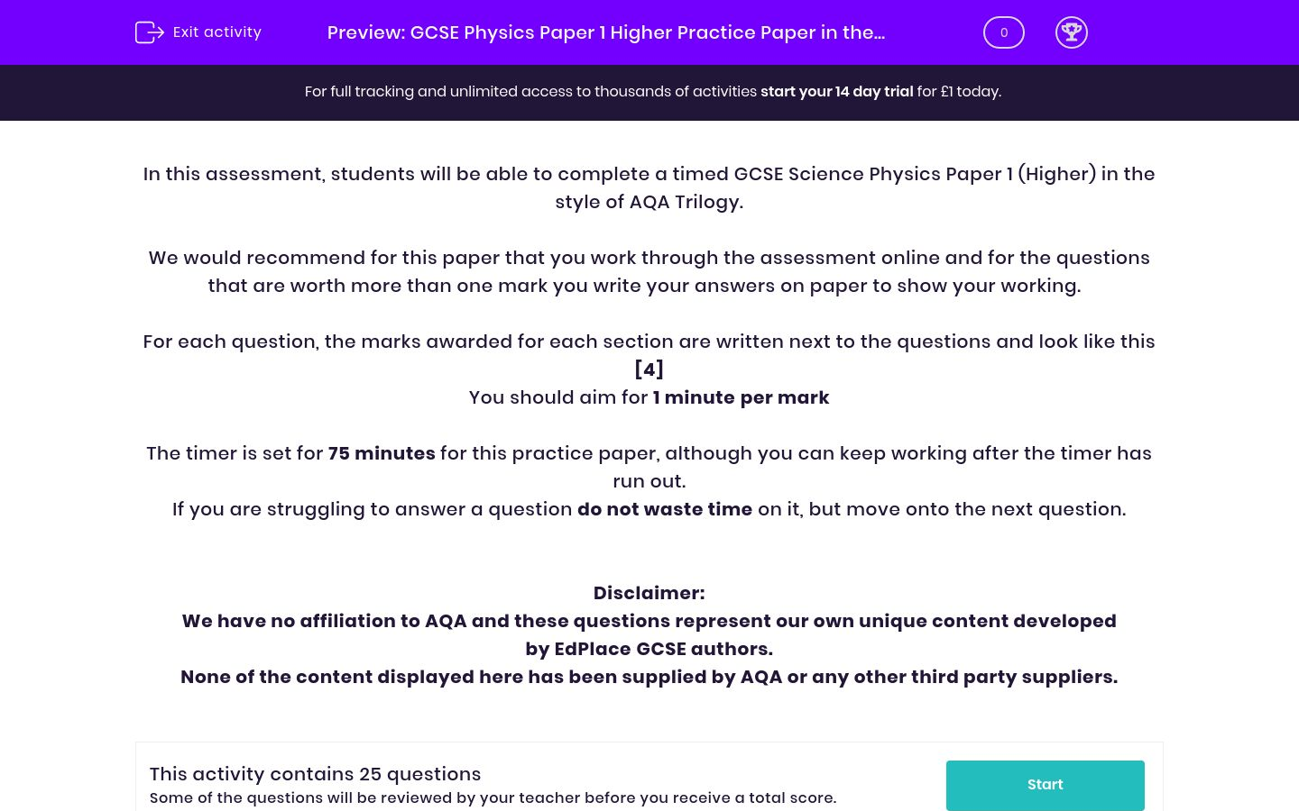 'GCSE Physics Paper 1 Higher Practice Paper in the Style of AQA Trilogy' worksheet