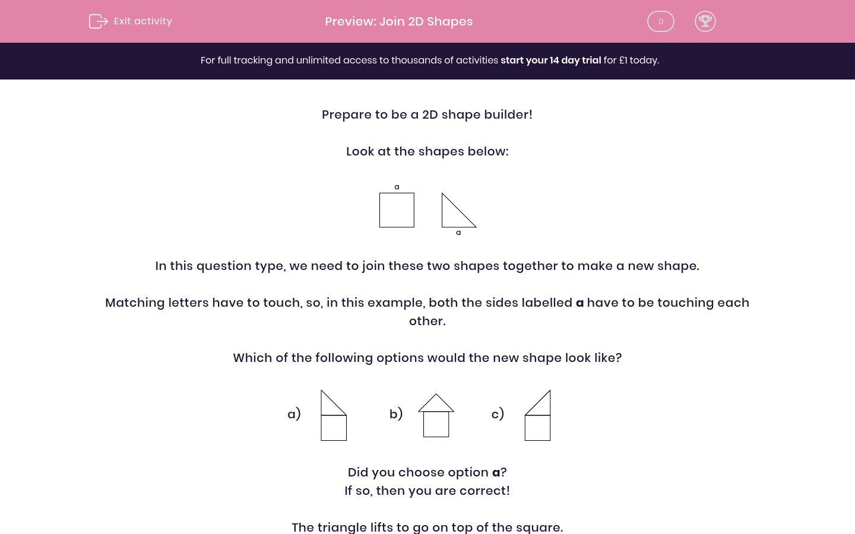 'Join 2D Shapes' worksheet