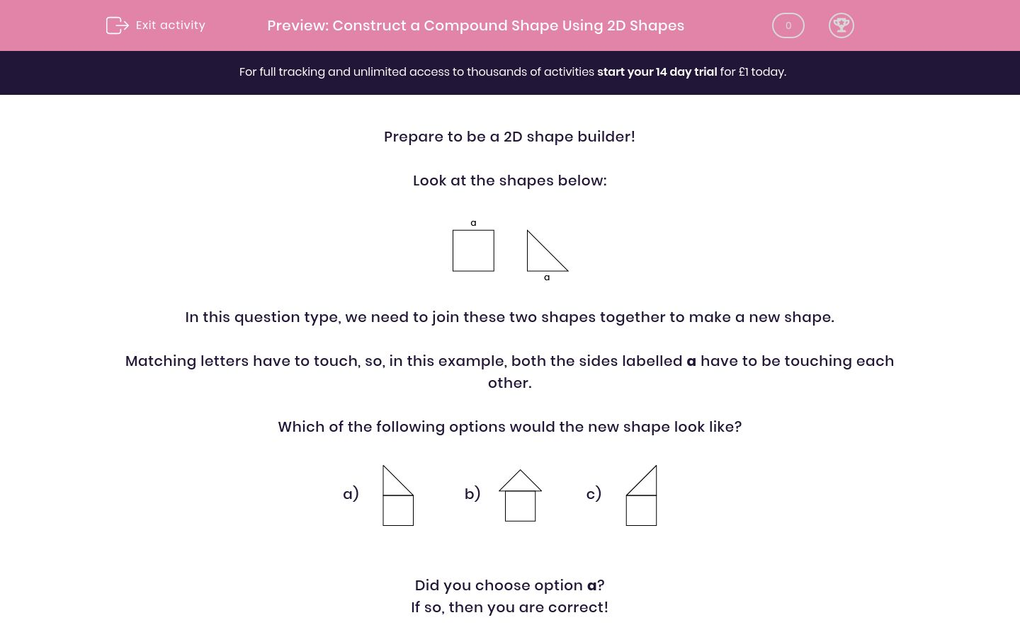 'Construct a Compound Shape Using 2D Shapes' worksheet
