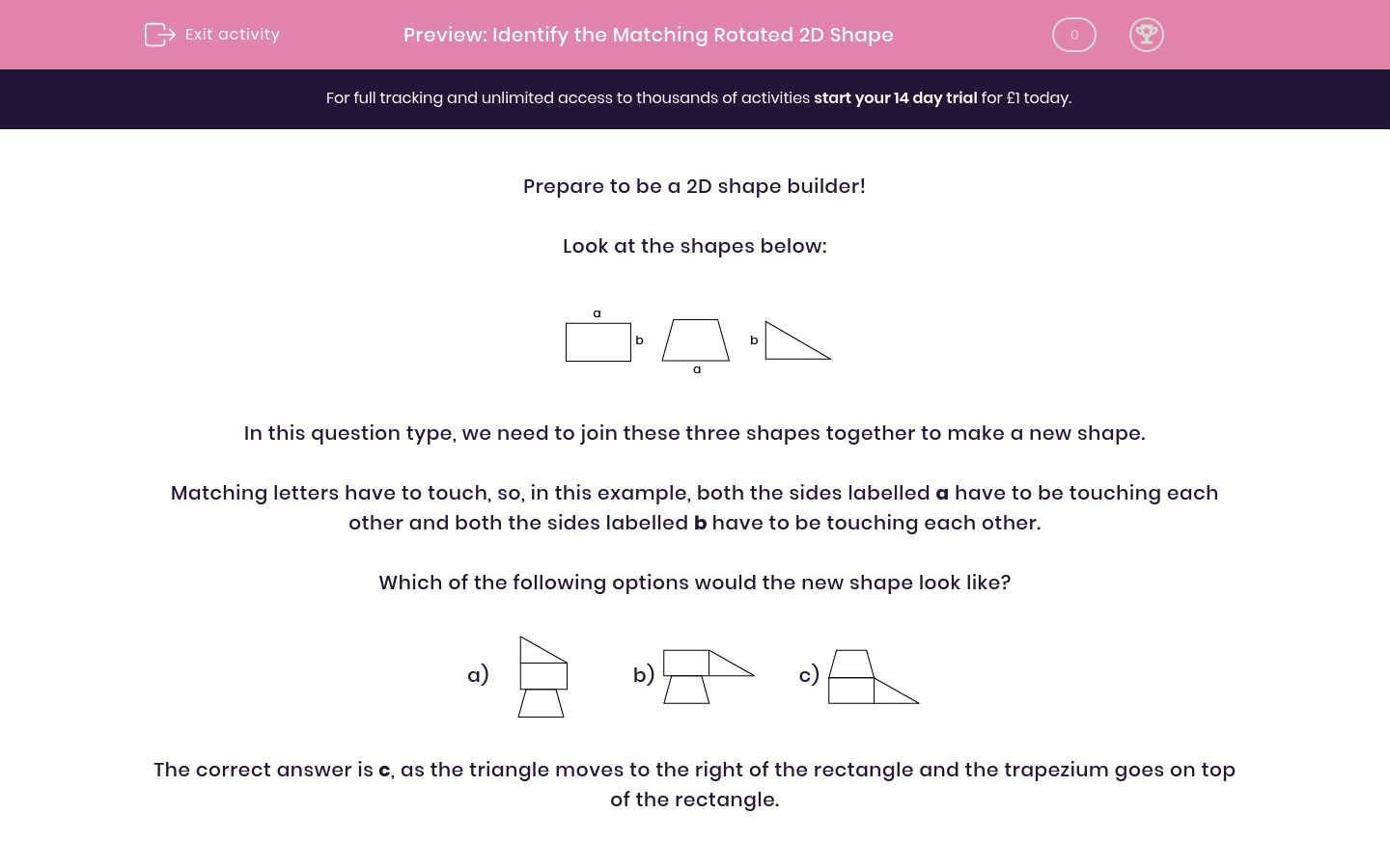 'Identify the Matching Rotated 2D Shape' worksheet