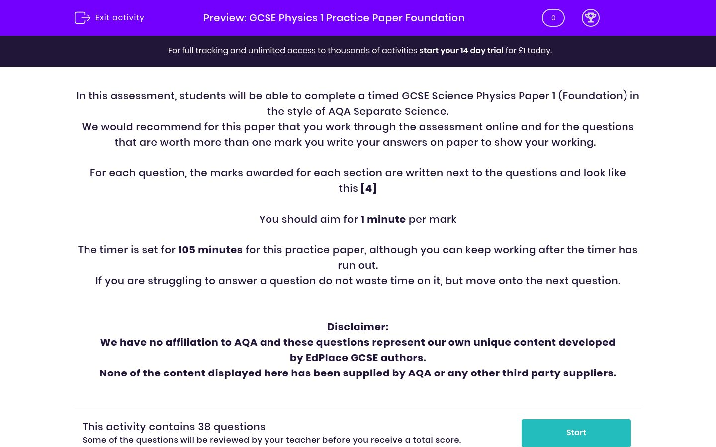 'GCSE Physics 1 Practice Paper Foundation' worksheet
