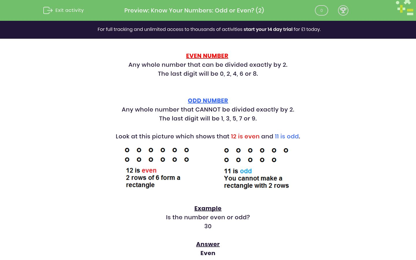 'Know Your Numbers: Odd or Even? (2)' worksheet