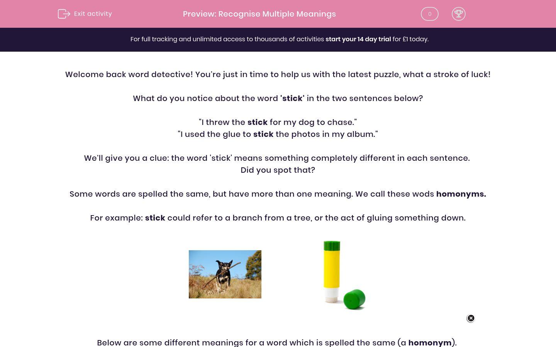 'Recognise Multiple Meanings' worksheet