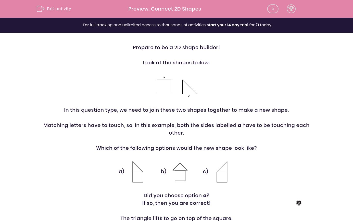'Connect 2D Shapes ' worksheet