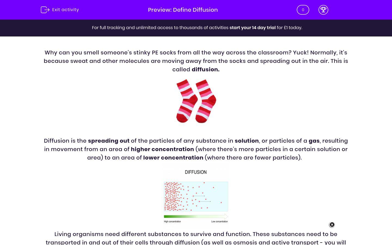 'Define Diffusion' worksheet