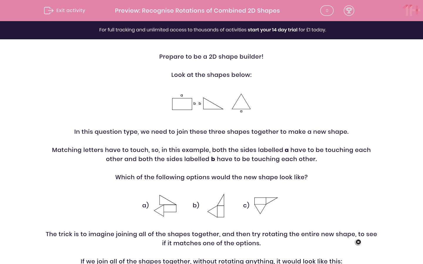 'Recognise Rotations of Combined 2D Shapes' worksheet