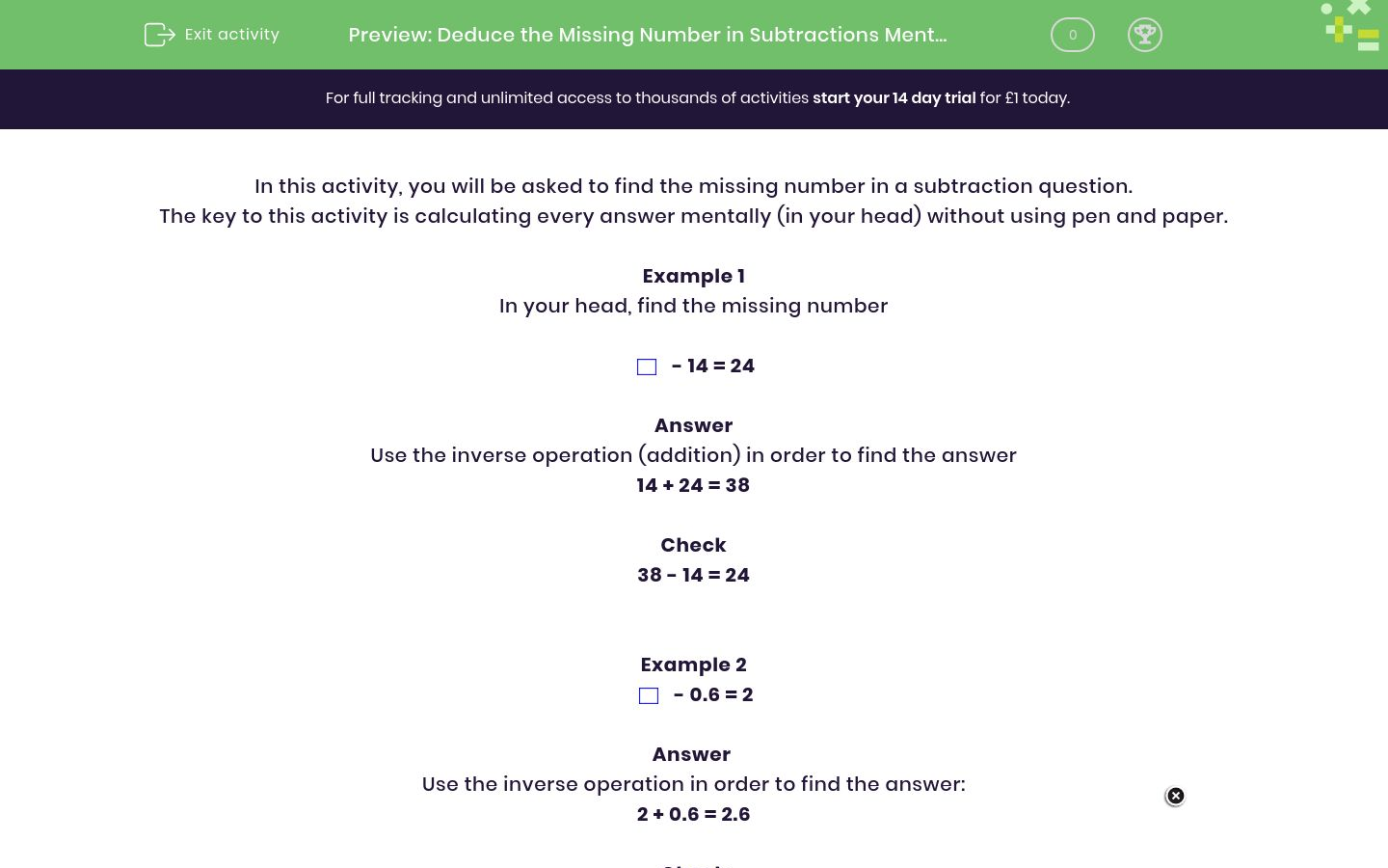 'Deduce the Missing Number in Subtractions Mentally' worksheet
