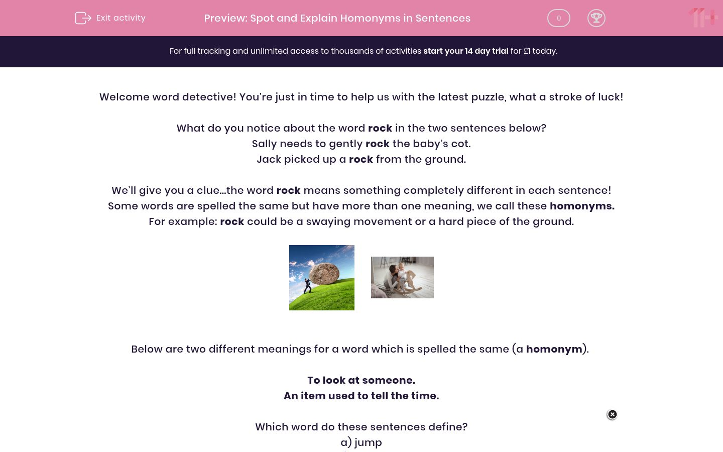 'Spot and Explain Homonyms in Sentences' worksheet